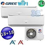 Climatizzatore inverter dual split LOMO Wi-Fi 18000 + 18000 Btu GREE R32 classe A++/A+