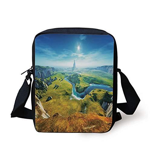 Landscape,3D Style Colorful Magical Outdoors River Rocks Cliffs Fresh Grass Hiking,Blue Green Grey Print Kids Crossbody Messenger Bag Purse