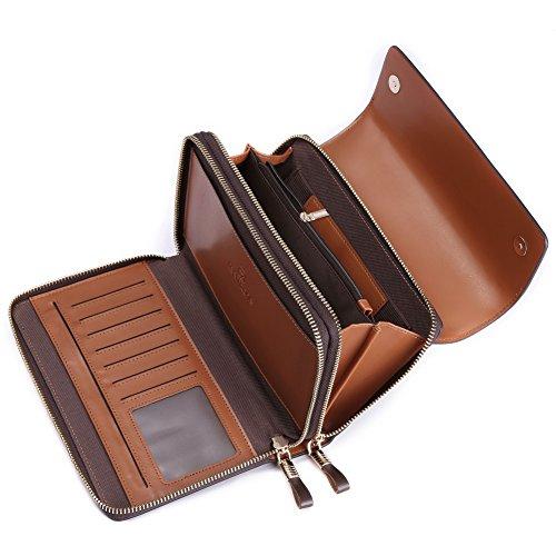 Teemzone Neu Clutch Unterarmtasche Geldbörse Handgelenktasche Portemonnaie Groß für Herren Echtes Leder S3348 Schwarz+ Kaffee (Kaffee + Trageschlaufe) Kaffee + Trageschlaufe