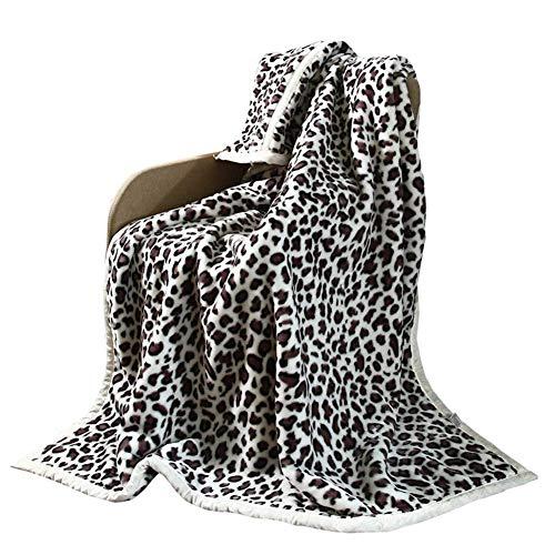 IF.HLMF Fashion Leopard Cloud Blanket Lazy Blanket Warm Doubleside Blanket Single Winter Dormitory Office Use -