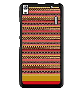 PrintDhaba Tribal pattern D-1868 Back Case Cover for LENOVO A7000 (Multi-Coloured)