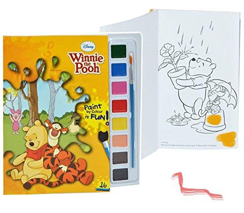 Unbekannt Malbuch / Malblock mit 8 Wasserfarben + Pinsel - Disney Winnie The Pooh Bär - Malvorlagen Puuh Tigger - Aufkleber für Jungen Mädchen Malbücher Farben Vorlagen..