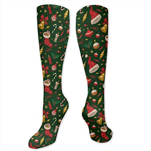 DGHKH Christmas Ornaments Unisex Knee High Sports Athletic Socks Polyester Tube Long Stockings -