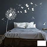 Wandtattoo Wandaufkleber Aufkleber Pusteblume mit süßen Schmetterlingen M1348 - ausgewählte Farbe: *Weiß* ausgewählte Größe:*M 180cm breit x 160cm hoch