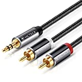 Cinch auf Klinke Kabel 3M,Victeck 3.5mm Klinke auf 2 Cinch Y Splitter Stereo Audio Kabel, Nylon Geflochten Klinkenkabel,Vergoldet Metall Stecker