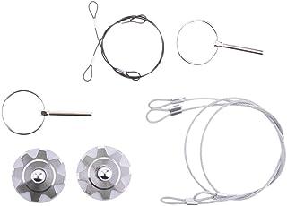 Segolike Universal Flush Hood Mount Catch Pin Locking Kit with Lanyard for Car SUV - silver