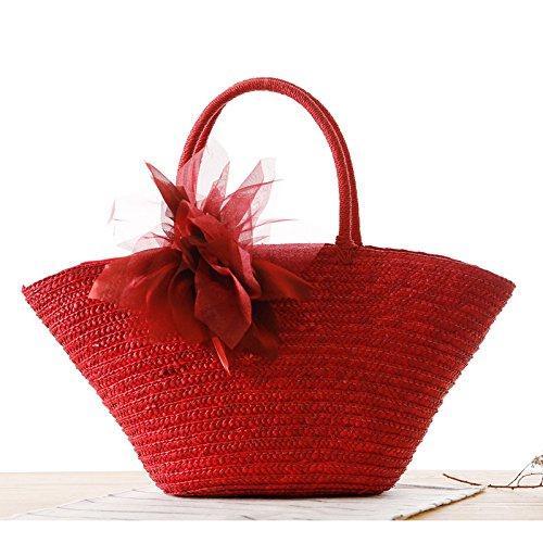 Mefly Il Coreano Filato Intrecciato Di Fiori Di Seta E Fiori Pastorale Sacchetto In Tessuto Fashion Borsetta Borsa Da Spiaggia Paglia Colorata Senza Fiore Big red