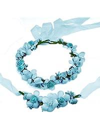 Gosear Corona de Flores Guirnalda Flores Artificiales con Anillo de la Mano Azul