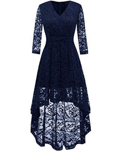 Dresstells Damen elegant Hi-Lo Cocktailkleid Unregelmässig Spitzenkleid Vokuhila Kleid mit...