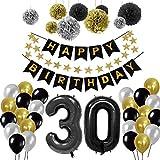Yoart Geburtstag Dekorationen 30. Alles Gute zum Geburtstag Banner 9pcs Seidenpapier Pom Poms, 30pcs Party Latex Ballons Geburtstag Dekoration Sets für Männer Schwarz, Gold und Silber