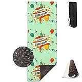 Yoga Mat Non Slip Happy Birthday 24 X 71 Inches Premium Fitness Exercise Pilates Carrying Strap