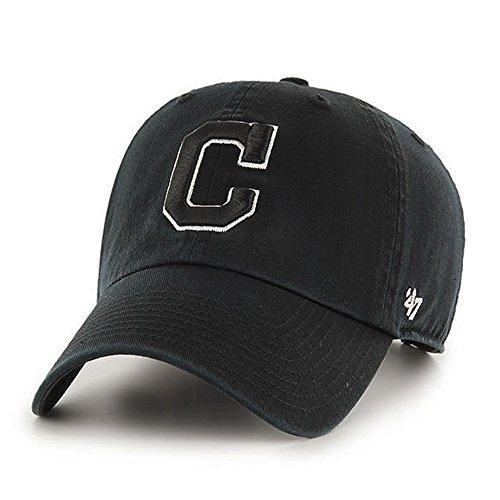 47 Brand Cleveland Indians MLB Clean up Dad Hat Cap Schwarz/Weiß (Hat Cleveland)