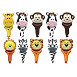 Amosfun, 10 palloncini a forma di animale, da tenere in mano, per feste di compleanno, decorazioni per bambini (stile casuale)
