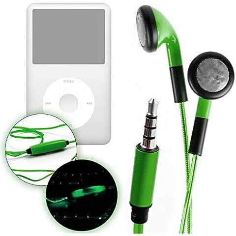 DURAGADGET Auriculares LED Verdes Intrauditivos Apple iPod Classic + ¡Paño Limpiador! - ¡Brillan En La Oscuridad Al Ritmo De La Música!