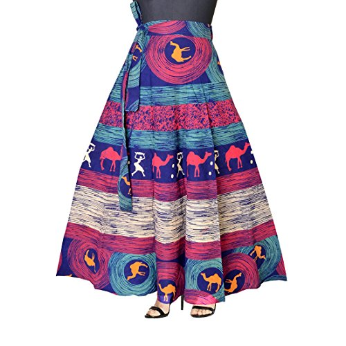JWF Women\'s Cotton Wrap Around Western Wear Skirt, Free Size (Multicolour, SK_5333)