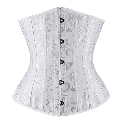 Charmian Women's 26 Steel Boned Underbust Waist Training Corset for Weight Loss White XX-Large (Lace-up-back Thong)