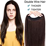 Extension Capelli Veri Filo Invisibile a Doppio Strato 100% Remy Human Hair Lisci Naturali 45cm 100g #2 Marrone