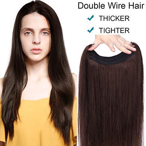 Haarteil Extensions Echthaar Haarverlängerung 1 Tresse Haare Haarverdichtung DICK-110g(50cm) Dunkelbraun#2 Dunkelbraun#2 DICK-20(50cm)-110g (Halo Haar)