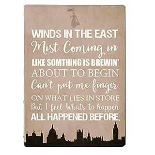 """Artylicious Metall-Wandschild mit englischem Zitat von Mary Poppins """"Winds in the East"""", A4-Wandtafel"""