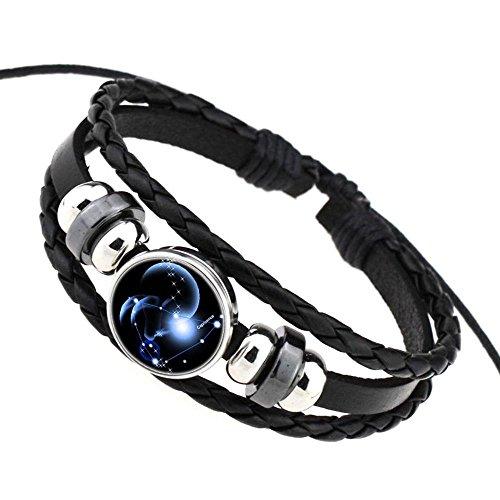 Daxey Punk 12 Sternzeichen Glas Metallschnalle Charm Armband Frauen Mann Fashion Constellation Schmuck schwarz Weave Mehrschichtige Leder-Armband [Steinbock]