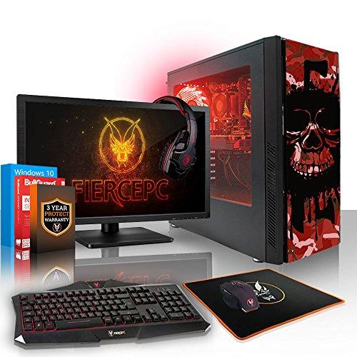 Fierce Phoenix RGB Gaming PC Bundeln - Schnell 3.4GHz Quad-Core AMD Ryzen 3 1200, 2TB HDD, 16GB 2666MHz, AMD Radeon RX 550 4GB, Windows 10, Tastatur (VK/QWERTY), Maus, 24-Zoll-Monitor, Headset 511997