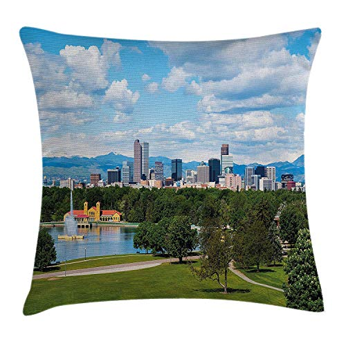 WCMBY Urban Throw Pillow Cushion Cover, City Park at Denver Colorado Downtown Tree and Architecture Sunny Panorama, Decorative Square Accent Pillow Case, 18 X 18 Inches, Sky Blue Fern Green