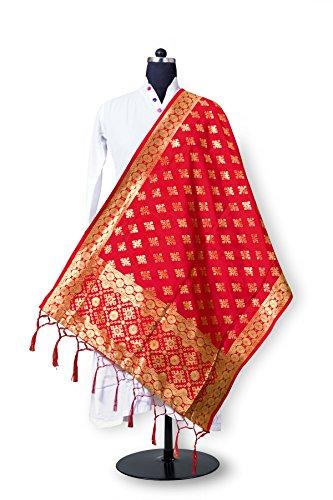 Aurima Women's Banarasi Jacquard Silk Designer Dupattas Red Pink Blue C.Green color...