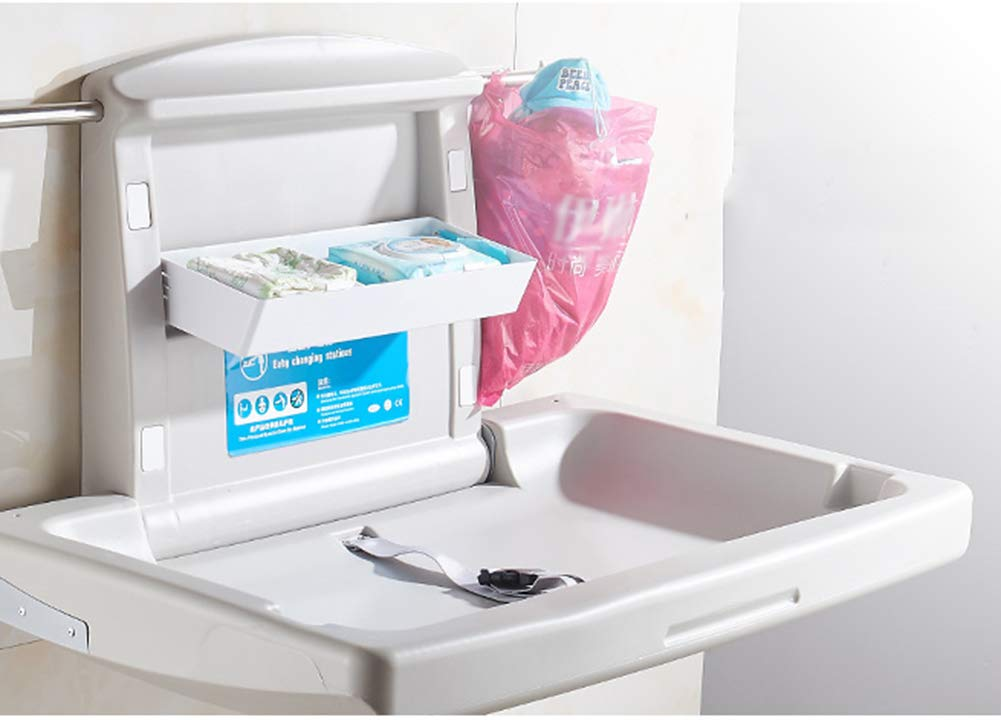 QZ® White Horizontal Baby Changing Station - Folding Diaper Station with Safety Straps - for Commercial Restrooms  qiangzi