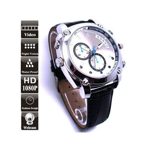 Flylinktech Reloj de cámara oculto    Esta cámara espía, con una artesanía sofisticada, es un reloj de pulsera de moda. Además, una gran foto y video son almacenables a través de una memoria interna de 16GB. Y también puede grabar voces individualmen...