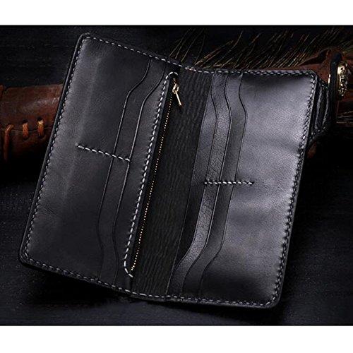Xiaopangzi main Portefeuille en cuir véritable Portefeuille sculpté Motif Skull Diable Wallet pour les hommes et les garçons (J) E