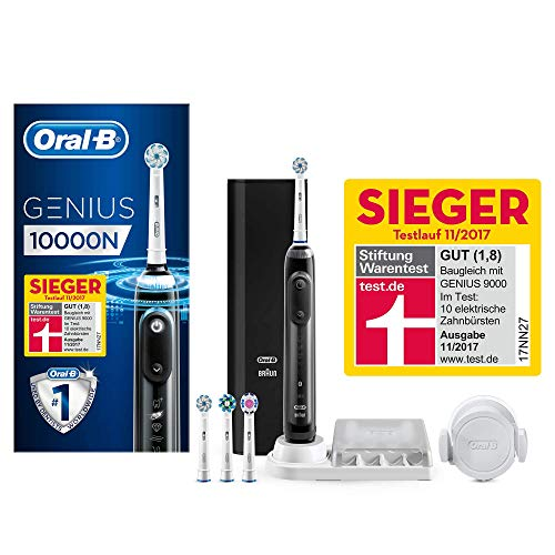 Oral-B Genius 10000N Elektrische Zahnbürste mit Zahnfleischschutz-Assistent und Premium Lade-Reise-Etui, schwarz