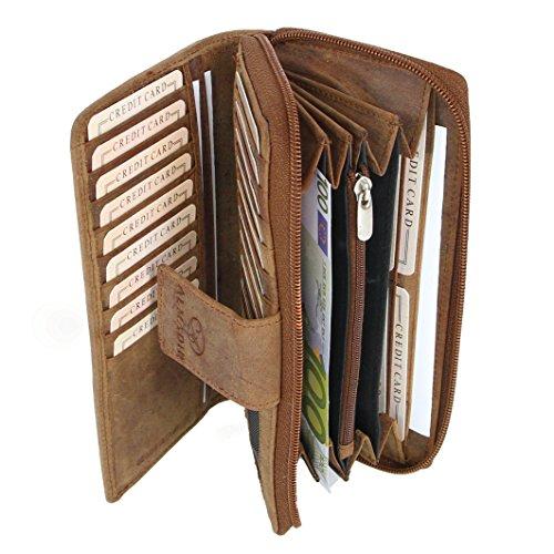 ALMADIH ® Damen Portemonnaie Mila Premium Rindsleder - 26 Kartenfächer, 7 Einsteckfächer, 4 Geldscheinfächer, Metall-Reißverschluss in Geschenkbox - Leder Langbörse Geldbörse braun (P27 Dunkelbraun)