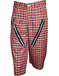 Nix Gut Tartan, Short In Straight-Fit Style, Color Red