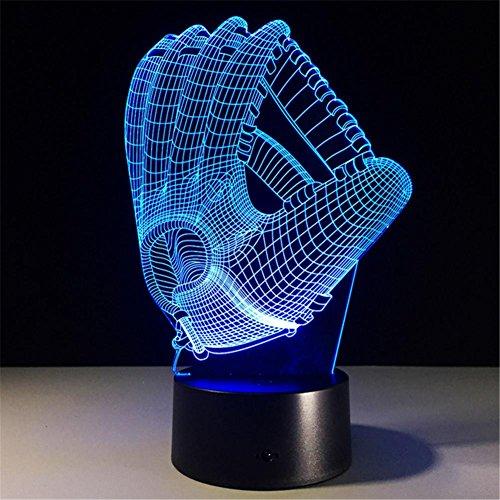 HHORD Bunte Nacht Licht kreative Geschenk Schreibtisch Lampe Baseball Handschuh Bar Thema Dekoration (Mehrfarb-Dimmen)