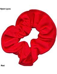 En Nylon/Lycra brillant Chouchou pour cheveux Rouge