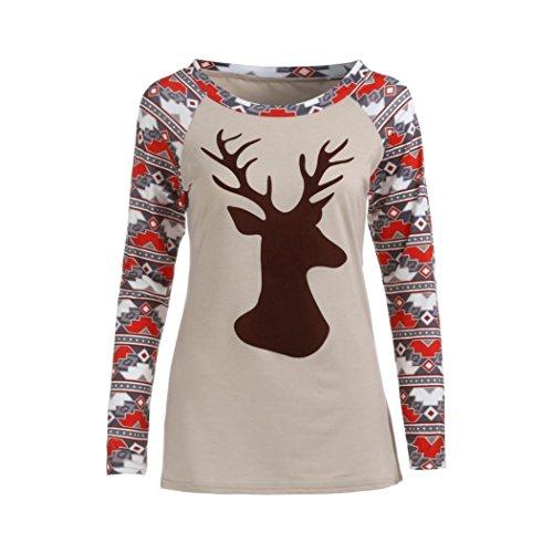 T-shirt Donna,LandFox Donne Casuale Natale Raglan Manica lunga Stampato O-Collo Maglietta Top Camicetta Cachi