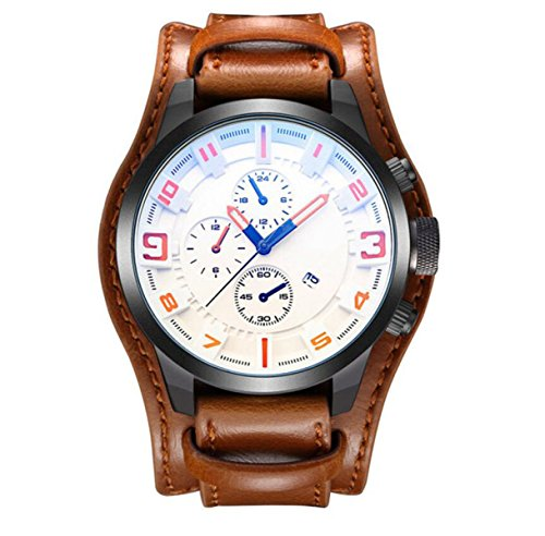 Herren Handtaschen Riemen Kalender Kalender Fashion Watch,Brown2-OneSize