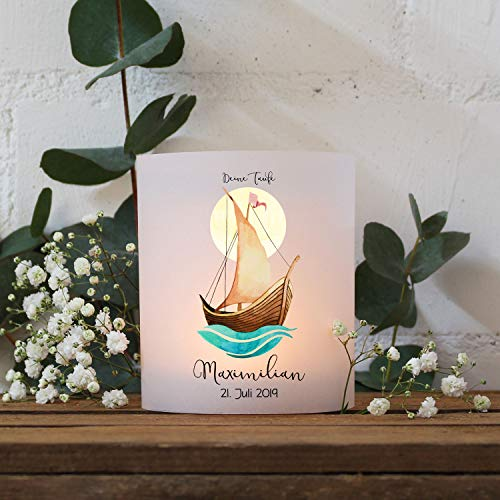 ilka parey wandtattoo-welt Teelichthüllen zur Taufe 2er 4er Set für Windlichter Teelicht Lichthülle Hülle Segelboot Schiff Sonne + Wunschname Datum te146 - ausgewählte Menge: *2X Lichthüllen*