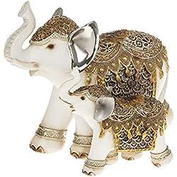 Decorativo marfil blanco madre y bebé elefante