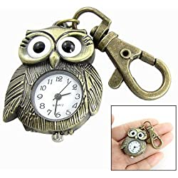 White Dial Bronze Tone Night Owl Shape Keyring Watch