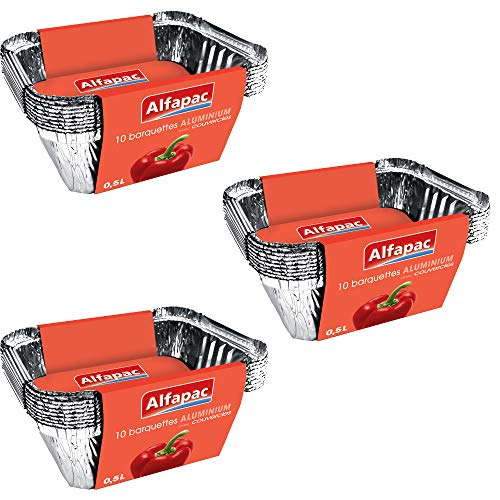 ALFAPAC - 10 barquettes aluminium 0,5L Plates avec couvercle - Lot de 3