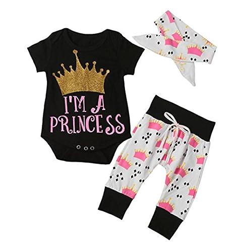 Bekleidung Longra 3pcs Kind Baby Mädchen Krone Buchstaben Kurzarm Baumwolle
