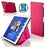 Forefront Cases Sony Xperia Z3 Tablette Compact 8 Pouces 8' SGP611 Origami Étui Housse Coque Case Cover - Ultra Mince Léger Protection complète - Smart Auto Veille Réveil - Rose + Stylet & Protecteur