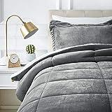 AmazonBasics Micromink Sherpa Comforter Set - Twin, Charcoal