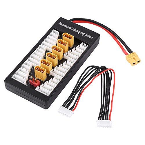 Dilwe Tablero de carga paralelo, 2S-6S XT60 Placa de carga equilibrada Lipo con cable 6S para cargador de batería RC B6AC A6 720i