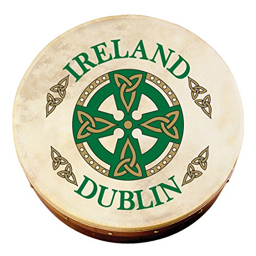 8 BODHRAN WITH DUBLIN CELTIC CROSS DESIGN  COMES WITH BEATER
