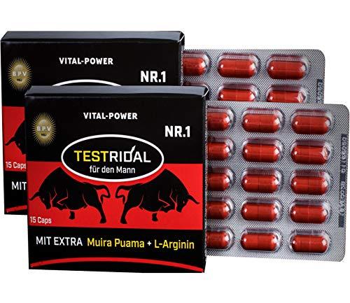 B.P.V - Bestseller Testridal 30 Kapseln = 16g - Potenzmittel - Testo Booster - Hochdosiertes Kombi-Produkt perfekt geeignet für Sportler und Aktive Männer - Für Lust - Liebe - Leidenschaft und mehr