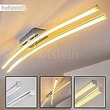 Deckenleuchte Georgina - minimalistische lange 2-flammige Designerleuchte mit warmweißem LED-Licht - klarer Lampenschirm mit Glanzeffekt - Metallleuchte für das Wohnzimmer - moderne Wohnlampe mit drehbaren Leuchtelementen