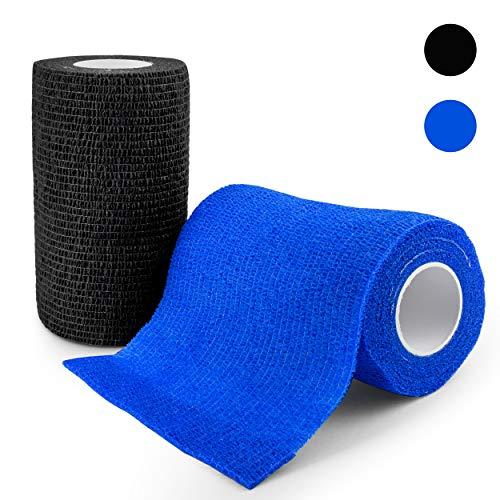 elinch 12 Stück Tape Set | Haftbandage in blau und schwarz | 10 cm x 4,5 Meter lange Fixierbinde selbsthaftend | Cohesive Bandage für Menschen und Tiere (Blau) -
