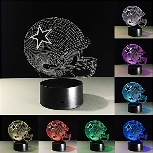 Dallas Cowboys Helm Lampen 3D Led Lampe 7 Farben Ändern Acryl Usb Led Tischlampe Kinder Geschenk Kreative Nachtlampe (Helme Dallas Cowboy)
